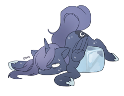 Size: 708x551 | Tagged: safe, artist:rd_3024, princess luna, alicorn, pony, cute, ice, ice cube, lunabetes, solo, sweat