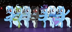 Size: 5582x2474 | Tagged: safe, artist:badumsquish, derpibooru exclusive, trixie, original species, plush pony, pony, robot, robot pony, unicorn, equestria girls, the cutie re-mark, the mean 6, too many pinkie pies, alternate hairstyle, alternate manestyle, alternate timeline, bipedal, can can, can-can, chrysalis resistance timeline, clone, clones, clothes, cute, cutie mark, cutie mark on clothes, dancers, dancing, dark link, dark trixie, diatrixes, equestria girls ponified, face paint, fedora, female, glowing eyes, group, hair ornament, hat, high kick, hooded jacket, hoodie, implied mirror pool, jacket, kick, kicking, living doll, looking at you, mare, mean trixie, missing cutie mark, multeity, multiple tails, night, night sky, plushie, ponified, radio city rockettes, red eyes, reflection, self ponidox, shirt, show accurate, skirt, sky, sonic the hedgehog (series), spear, stage, stars, stitches, tails doll, the legend of zelda, the legend of zelda: ocarina of time, time paradox, tribal, tribal marking, trixie army, trixie doll, two tails, two-tone coat, weapon, zipper