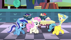 Size: 1920x1080 | Tagged: safe, screencap, lemon hearts, minuette, moondancer, twilight sparkle, twinkleshine, pony, unicorn, amending fences, erlenmeyer flask, female, filly, flaskhead hearts, stuck