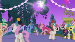 Size: 1920x1080 | Tagged: safe, screencap, honey lemon, lemon hearts, minuette, moondancer, moondancer's sister, morning roast, pinkie pie, spike, twinkleshine, dragon, earth pony, pony, unicorn, amending fences, dancing, disco ball, female, hat, male, mare, party hat