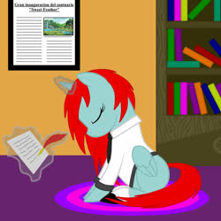Size: 1200x1200 | Tagged: safe, artist:zethbsoul, oc, oc only, oc:yvonne redfeather, alicorn, pony, bookshelf, quill, red mane, simple background, solo