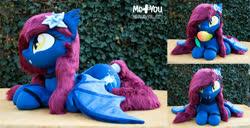 Size: 1800x925 | Tagged: safe, artist:meplushyou, oc, oc:nightingale, bat pony, bat pony oc, bat wings, faux fur, food, irl, life size, mango, mangoes, photo, plushie, poison joke, solo, wings