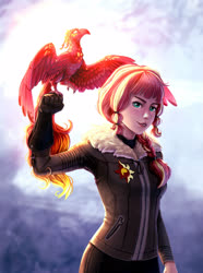 Size: 2341x3152 | Tagged: safe, artist:rysunkowasucharia, sunset shimmer, human, phoenix, equestria girls, alternate hairstyle, braid, clothes, falconry, female, high res, humanized, looking at you, solo