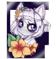 Size: 1280x1340 | Tagged: safe, artist:missclaypony, oc, oc:panda, pony, bust, female, flower, mare, portrait, simple background, solo, transparent background