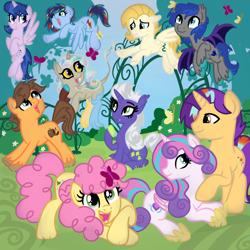 Size: 2100x2100   Tagged: safe, artist:sjart117, li'l cheese, princess flurry heart, oc, oc:bright anarchy, oc:chocolate apple, oc:dusk moon, oc:gem sprout, oc:gentle nudge, oc:magic nova, oc:prism zap, oc:wild spell, alicorn, draconequus, dracony, dragon, earth pony, hybrid, pegasus, pony, unicorn, the last problem, canon x oc, female, forest, interspecies offspring, male, mare, next generation, offspring, parent:applejack, parent:bulk biceps, parent:caramel, parent:discord, parent:flash sentry, parent:fluttershy, parent:princess celestia, parent:princess luna, parent:rainbow dash, parent:rarity, parent:royal guard, parent:soarin', parent:spike, parent:starlight glimmer, parent:sunburst, parent:twilight sparkle, parents:carajack, parents:dislestia, parents:flashlight, parents:flutterbulk, parents:soarindash, parents:sparity, parents:starburst, pegacorn, stallion, straight