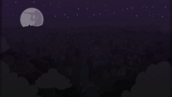 Size: 1920x1080 | Tagged: safe, artist:scottbee2, barn, cloud, mare in the moon, moon, night, no pony, ponyville, ponyville town hall, river, scenery, sky, stars, sweet apple acres, sweet apple acres barn, tree, wallpaper