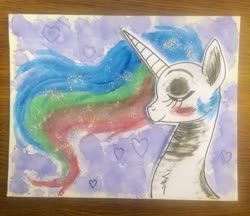 Size: 2448x2113 | Tagged: artist needed, source needed, safe, princess celestia, alicorn, pony, bust, eyes closed, painting, portrait, profile, solo, traditional art, watercolor painting
