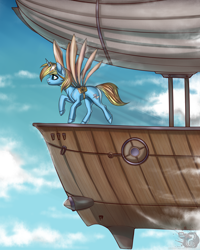 Size: 4000x5000 | Tagged: safe, artist:rensaio, oc, oc only, oc:skydreams, pony, unicorn, absurd resolution, airship, artificial wings, augmented, cloud, commission, female, flying, mare, mechanical wing, sky, wings