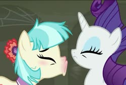 Size: 973x661 | Tagged: safe, screencap, coco pommel, rarity, the saddle row review, cropped, sick, sneezing