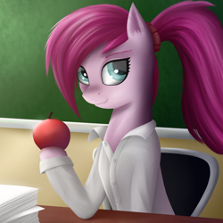 Size: 1600x1600 | Tagged: safe, artist:sanroys, pinkie pie, earth pony, pony, apple, clothes, female, food, hooves, jacket, mare, paper, ponytail, school, sitting, smiling, solo