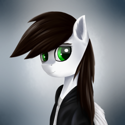 Size: 1600x1600 | Tagged: safe, artist:sanroys, oc, oc only, pegasus, pony, bust, female, gradient background, mare, solo, wings