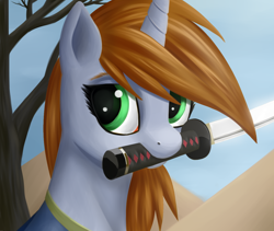 Size: 1280x1080 | Tagged: safe, artist:sanroys, oc, oc only, oc:littlepip, pony, unicorn, fallout equestria, bust, clothes, fanfic, fanfic art, female, horn, katana, lineless, mare, mouth hold, portrait, solo, sword, tree, vault suit, weapon