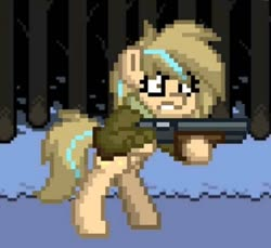 Size: 1280x1171 | Tagged: safe, artist:grithcourage, oc, oc:grith courage, earth pony, pony, pony town, angry, gun, jaket, pixel art, shotgun, stand, undertale, weapon