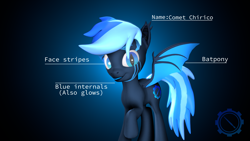 Size: 3840x2160 | Tagged: safe, artist:technickarts, oc, oc:comet chirico, bat pony, hybrid, 3d, bat pony oc, bat wings, blue background, blue insides, cute, simple background, slit eyes, source filmmaker, volumetric light, watermark, weapons-grade cute, wings