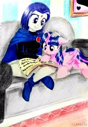 Size: 2322x3340 | Tagged: safe, artist:liaaqila, twilight sparkle, alicorn, pony, book, boots, cloak, clothes, commission, couch, cute, female, mare, raven (teen titans), reading, shoes, tara strong, teen titans, twiabetes, twilight sparkle (alicorn), voice actor joke