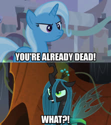 Size: 1280x1440   Tagged: safe, edit, edited screencap, editor:jaredking203, screencap, queen chrysalis, trixie, changeling, unicorn, road to friendship, the beginning of the end, spoiler:s09e01, spoiler:s09e02, caption, female, hokuto no ken, image macro, meme, text