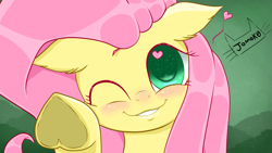 Size: 3840x2160 | Tagged: safe, artist:jomok0, fluttershy, pegasus, best pony, blushing, colored pupils, cute, heart, heart eyes, heart hoof, looking at you, shiny hair, shyabetes, simple background, simple shading, smiling at you, solo, sparkly eyes, wallpaper, wingding eyes