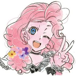 Size: 700x700 | Tagged: safe, artist:5mmumm5, pinkie pie, equestria girls, bust, flower, flower in hair, one eye closed, peace sign, simple background, solo, white background, wink
