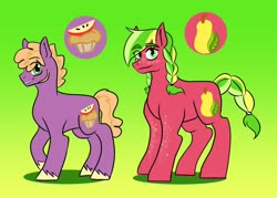 Size: 1280x915 | Tagged: safe, artist:vennyriz22, little mac, oc, oc:carroll ambrosia cerise, earth pony, brother and sister, cutie mark, duo, female, freckles, gradient background, male, mare, offspring, older little mac, older little macintosh, parent:big macintosh, parent:cheerilee, parents:cheerimac, siblings, stallion, step-siblings
