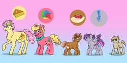 Size: 1280x640 | Tagged: safe, artist:vennyriz22, li'l cheese, oc, oc:cherry chunga biscotti, oc:laughter candy taaffeite, oc:milk creme dudley, oc:rockathena canon road, pony, spoiler:s09e26, bowtie, colt, cutie mark, female, filly, gradient background, heterochromia, male, mare, offspring, parent:cheese sandwich, parent:pinkie pie, parents:cheesepie, siblings, stallion, trans mare