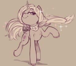 Size: 2039x1775 | Tagged: safe, artist:napalm express, oc, oc only, pony, unicorn, brown background, chest fluff, female, jewelry, looking at you, mare, monochrome, necklace, simple background, solo, sparkles