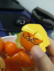Size: 1440x1920 | Tagged: safe, artist:holp, edit, oc, oc:holp, unicorn, cute, eyes closed, finger, food, fruit, nervous, orange, photo, photo edit, realistic background