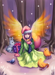 Size: 1275x1725 | Tagged: safe, artist:ninjaham, fluttershy, bird, human, rabbit, animal, christmas, hat, holiday, humanized, juice, juice box, looking at you, present, santa hat, sitting, snow, snowfall, tree