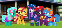 Size: 2340x1080 | Tagged: safe, artist:徐詩珮, fizzlepop berrytwist, glitter drops, spring rain, sunset shimmer, tempest shadow, twilight sparkle, alicorn, unicorn, series:sprglitemplight diary, series:sprglitemplight life jacket days, series:springshadowdrops diary, series:springshadowdrops life jacket days, alternate universe, bisexual, broken horn, chase (paw patrol), clothes, cute, female, glitterbetes, glitterlight, glittershadow, horn, lesbian, lifeguard, lifeguard spring rain, marshall (paw patrol), paw patrol, polyamory, shipping, skye (paw patrol), sprglitemplight, springbetes, springdrops, springlight, springshadow, springshadowdrops, tempestbetes, tempestlight, twilight sparkle (alicorn), zuma (paw patrol)