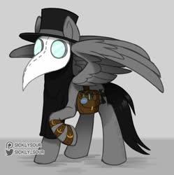Size: 1023x1026 | Tagged: safe, artist:sickly-sour, oc, oc:doc, pegasus, bag, hat, plague doctor mask, potion, solo, straps, top hat