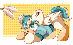 Size: 3200x2000 | Tagged: safe, artist:etoz, oc, oc only, oc:sun light, pegasus, pony, bandana, behaving like a cat, blushing, clothes, commission, cute, female, happy, ocbetes, open mouth, pegasus oc, pet play, pony pet, solo, starry eyes, sweater, wingding eyes, wings, ych result