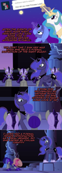 Size: 1148x3206   Tagged: safe, artist:ladyanidraws, princess celestia, princess luna, oc, oc:pun, alicorn, bat pony, earth pony, pony, ask pun, agent 707, armor, ask, bowing, female, mare, night guard, s1 luna
