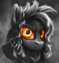 Size: 1000x1064 | Tagged: safe, artist:stdeadra, oc, pegasus, eye, hair, hood, monochrome, neo noir, partial color, shadow, solo