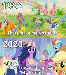 Size: 850x963 | Tagged: safe, edit, edited screencap, editor:bugs-pony.exe.4044, screencap, applejack, applejack (g1), firefly, fluttershy, li'l cheese, pinkie pie, rainbow dash, rarity, spike, spike (g1), twilight sparkle, alicorn, dragon, earth pony, pegasus, pony, unicorn, season 9, spoiler:s09e26, engrish, female, g1, mane seven, mane six, mare, nostalgia, older, older applejack, older fluttershy, older mane 6, older mane 7, older pinkie pie, older rainbow dash, older rarity, older spike, older twilight, princess twilight 2.0, timeline, twilight sparkle (alicorn), winged spike