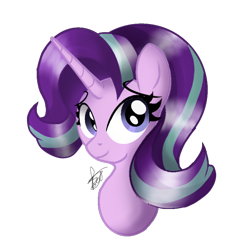 Size: 768x768 | Tagged: safe, artist:tatianabeyzer, starlight glimmer, pony, unicorn, bust, portrait, simple background, smiling, solo, transparent background