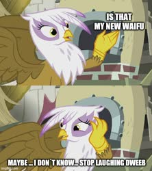 Size: 500x562 | Tagged: safe, edit, edited screencap, screencap, gilda, griffon, the lost treasure of griffonstone, caption, image macro, meme, solo, text
