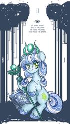 Size: 700x1240   Tagged: safe, artist:azimooth, oc, oc:thauma disk, earth pony, pony, ask thaumaturge pony, book, female, mare, solo, staff