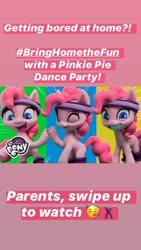 Size: 750x1333 | Tagged: safe, pinkie pie, earth pony, pony, my little pony: pony life, pinkie pie wants to play, bringhomethefun, coronavirus, instagram story, official, solo, text