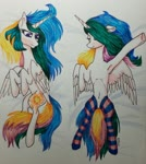 Size: 1280x1437 | Tagged: safe, artist:rainbowmoron, princess celestia, alicorn, pony, armpits, body pillow, body pillow design, clothes, dakimakura cover, female, marker drawing, socks, solo, striped socks, traditional art