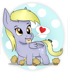 Size: 3860x4133 | Tagged: safe, artist:almond evergrow, derpy hooves, pegasus, pony, chibi, fanart, food, letter, muffin, solo
