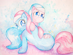 Size: 4032x3024   Tagged: safe, artist:papersurgery, aloe, lotus blossom, earth pony, cute, female, looking at you, looking back, mare, siblings, sisters, sitting, traditional art, watercolor painting