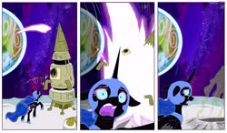 Size: 7695x4482 | Tagged: safe, artist:jeremy3, nightmare moon, alicorn, pony, building, craft, hammer, moon, space