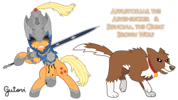 Size: 5692x3200 | Tagged: safe, artist:gutovi, applejack, winona, wolf, armor, armored pony, artorias, bipedal, cloak, clothes, crossover, dark souls, great grey wolf sif, helmet, sword, weapon