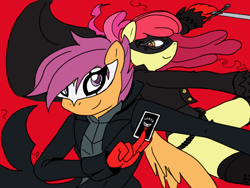 Size: 800x600 | Tagged: safe, artist:flash equestria photography, colorist:little jackie papercut, edit, apple bloom, scootaloo, anthro, earth pony, pegasus, card, clothes, colored, cosplay, costume, crossover, joker (persona), mask, persona, persona 5, persona 5 royal, sword, violet (persona), weapon