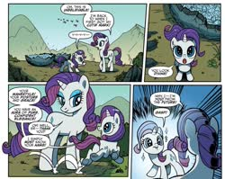 Size: 981x780 | Tagged: safe, artist:pencils, idw, rarity, pony, spoiler:comic, spoiler:comicidw2020, comic, comic panel, cropped, cute, duality, female, filly, filly rarity, foal, geode, mare, official comic, raribetes, self ponidox, starry eyes, time paradox, wingding eyes, younger
