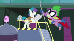 Size: 1280x720 | Tagged: safe, artist:punzil504, edit, edited screencap, screencap, vector edit, humdrum, quick trim, spike, power ponies (episode), henchmen, holding, huh, newspaper, power ponies, rope, swinging, vector, woah