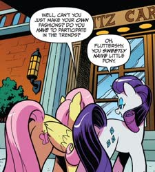 Size: 503x558 | Tagged: safe, artist:andypriceart, idw, fluttershy, rarity, pegasus, unicorn, spoiler:comic, spoiler:comic64, butt, comic panel, cropped, misleading thumbnail, official comic, plot