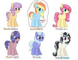 Size: 1700x1300 | Tagged: safe, artist:cheesepuff2, oc, oc only, alicorn, earth pony, pegasus, pony, unicorn, alicorn oc, earth pony oc, female, hat, horn, magical lesbian spawn, mare, offspring, parent:applejack, parent:flash sentry, parent:fluttershy, parent:octavia melody, parent:pinkie pie, parent:rainbow dash, parent:scootaloo, parent:sweetie belle, parent:trixie, parent:twilight sparkle, parent:vinyl scratch, parents:appledash, parents:flashlight, parents:flutterpie, parents:scootabelle, parents:scratchtavia, parents:twixie, pegasus oc, simple background, smiling, text, transparent background, unicorn oc, wings