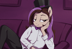 Size: 1449x978 | Tagged: safe, artist:thebowtieone, oc, oc:bowtie, anthro, earth pony, female, hat, mare, solo, top hat