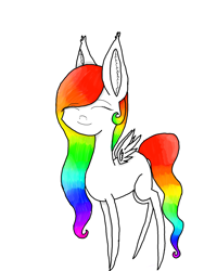 Size: 2121x2828 | Tagged: safe, artist:prismicdiamondart, oc, oc only, oc:prismatic spectrum rainbow, pegasus, pony, chibi, eyes closed, female, mare, multicolored hair, pegasus oc, rainbow hair, simple background, smiling, solo, white background, wings