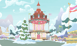 Size: 954x572 | Tagged: safe, artist:mysteriousshine, background, building, christmas, christmas tree, flag, holiday, market, mountain, no pony, ponyville, ponyville town hall, resource, snow, tree